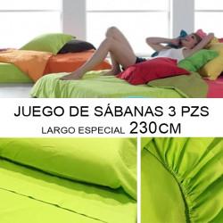 Juego sábanas largo especial 230 cm - 3 PZS