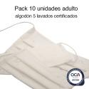 Mascarillas higiénicas reutilizables algodón Adulto UNE 0065 Pack de 10 Ud