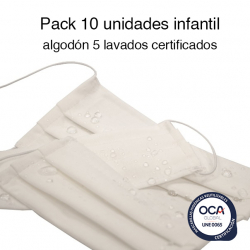 Mascarillas higiénicas reutilizables algodón Infantil UNE 0065 Pack de 10 Ud