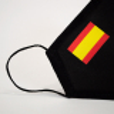 Mascarilla higiénica reutilizable Bandera España negra Adulto UNE 0065 Pack 4 ud
