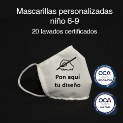 Mascarilla higiénica reutilizable personalizada Niño 6-9 UNE 0065