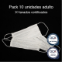 Mascarilla higiénica reutilizable Adulto UNE 0065 Pack 10 Ud