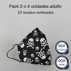 Mascarilla higiénica reutilizable Calaveras Adulto UNE 0065 y UNE-CWA 17553  Pack 2 o 4 ud
