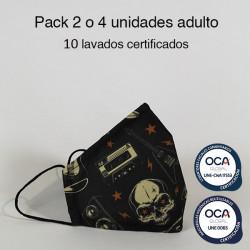 Mascarilla higiénica reutilizable Rock Adulto UNE 0065 y UNE-CWA 17553  Pack 2 o 4 ud