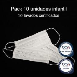 Mascarilla higiénica reutilizable Infantil UNE 0065 Pack 10 Ud