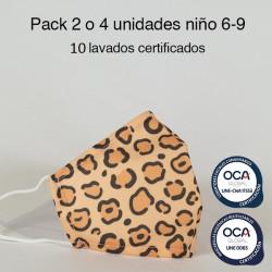 Mascarilla higiénica reutilizable Leopardo Infantil UNE 0065 y UNE-CWA 17553 Pack 2 o 4 ud