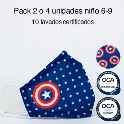 Mascarilla higiénica reutilizable Capitán America Infantil UNE 0065 y CWA 17553 Pack 2 o 4 ud