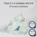 Mascarilla higiénica reutilizable Dinosaurios Infantil UNE 0065 Pack 4 ud