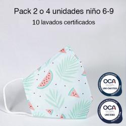 Mascarilla higiénica reutilizable Sandías Infantil UNE 0065 Pack 4 ud