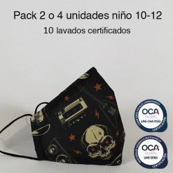 Mascarilla higiénica reutilizable Rock Infantil UNE 0065 y UNE-CWA 17553  Pack 2 o 4 ud
