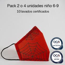 Mascarilla higiénica reutilizable Spider Infantil UNE 0065 Pack 2 o 4 ud
