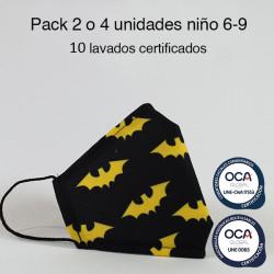 Mascarilla higiénica reutilizable Bat Infantil UNE 0065 Pack 2 o 4 ud