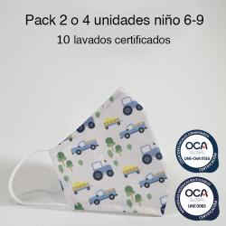 Mascarilla higiénica reutilizable Tractores Infantil UNE 0065 Pack 2 o 4 ud