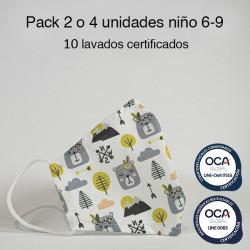 Mascarilla higiénica reutilizable Osos Infantil UNE 0065 Pack 2 o 4 ud