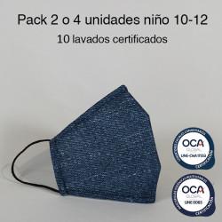 Mascarilla higiénica reutilizable Vaquera Infantil UNE 0065 y UNE-CWA 17553  Pack 2 o 4 ud