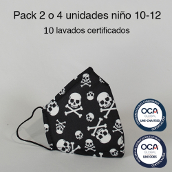 Mascarilla higiénica reutilizable calavera Infantil UNE 0065 y UNE-CWA 17553  Pack 2 o 4 ud
