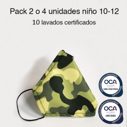 Mascarilla higiénica reutilizable Camuflaje Infantil UNE 0065 Pack 4 ud