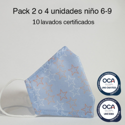 Mascarilla higiénica reutilizable Estrellas Infantil UNE 0065 Pack 2 o 4 ud
