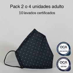 Mascarilla higiénica reutilizable Cruces Adulto UNE 0065 y UNE-CWA 17553  Pack 2 o 4 ud