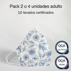 Mascarilla higiénica reutilizable Mariposa Adulto UNE 0065 Pack 4 ud