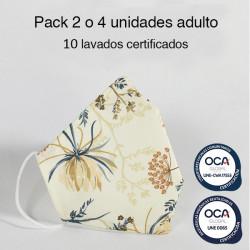 Mascarilla higiénica reutilizable Flora Adulto UNE 0065 Pack 4 ud