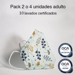 Mascarilla higiénica reutilizable flores Adulto UNE 0065 Pack 4 ud