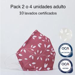Mascarilla higiénica reutilizable flores gris Adulto UNE 0065 Pack 4 ud