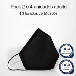 Mascarilla higiénica reutilizable Negra Adulto UNE 0065 Pack 4 ud
