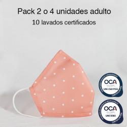 Mascarilla higiénica reutilizable Topo Rosa Adulto UNE 0065 Pack 4 ud