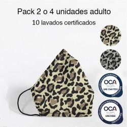 Mascarilla higiénica reutilizable Leopardo Adulto UNE 0065 Pack 4 ud