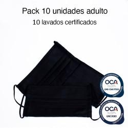 Mascarilla higiénica reutilizable Negra Adulto UNE 0065 y UNE-CWA 17553 Pack 10 Ud