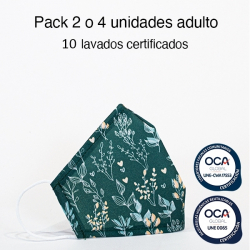 Mascarilla higiénica reutilizable Flores verde Adulto UNE 0065 y UNE-CWA 17553  Pack 2 o 4 ud