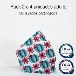 Mascarilla higiénica reutilizable cactús Adulto UNE 0065 y UNE-CWA 17553  Pack 2 o 4 ud