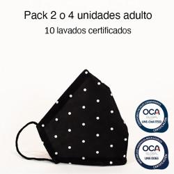 Mascarilla higiénica reutilizable Topo negro Adulto UNE 0065 y UNE-CWA 17553  Pack 2 o 4 ud