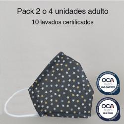 Mascarilla higiénica reutilizable Estrellas Adulto UNE 0065 y CWA 17553  Pack 2 o 4 ud