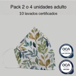 Mascarilla higiénica reutilizable Flores Otoño Adulto UNE 0065 y CWA 17553  Pack 2 o 4 ud