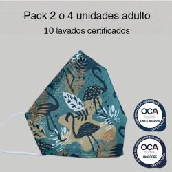 Mascarilla higiénica reutilizable Flamencos Adulto UNE 0065 y CWA 17553  Pack 2 o 4 ud