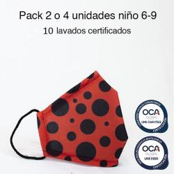 Mascarilla higiénica reutilizable Lady B Infantil UNE 0065 y CWA 17553 Pack 2 o 4 ud