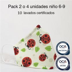 Mascarilla higiénica reutilizable Bug Infantil UNE 0065 y CWA 17553 Pack 2 o 4 ud