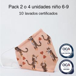 Mascarilla higiénica reutilizable Tigres Infantil UNE 0065 y CWA 17553 Pack 2 o 4 ud
