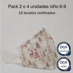 Mascarilla higiénica reutilizable Renos Infantil UNE 0065 y CWA 17553 Pack 2 o 4 ud
