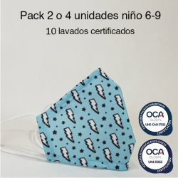 Mascarilla higiénica reutilizable Rayo Infantil UNE 0065 y CWA 17553 Pack 2 o 4 ud