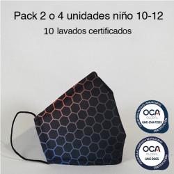 Mascarilla higiénica reutilizable Hexágono Infantil UNE 0065 y UNE-CWA 17553  Pack 2 o 4 ud