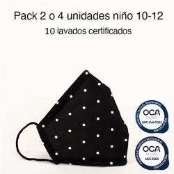 Mascarilla higiénica reutilizable Topo Negro Infantil UNE 0065 y UNE-CWA 17553  Pack 2 o 4 ud