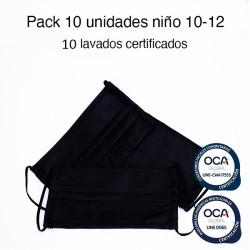 Mascarilla higiénica reutilizable Negra Infantil UNE 0065 y UNE-CWA 17553 Pack 10 Ud