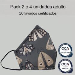 Mascarilla reutilizable Mariposas Adulto UNE 0065 y CWA 17553  Pack 2 o 4 ud