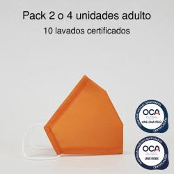 Mascarilla higiénica reutilizable Amarilla Adulto UNE 0065 y CWA 17553 Pack 2 o 4 ud