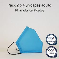 Mascarilla higiénica reutilizable Azul Adulto UNE 0065 y CWA 17553 Pack 2 o 4 ud