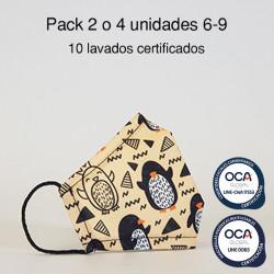 Mascarilla higiénica reutilizable Pingüinos Infantil UNE 0065 y CWA 17553 Pack 2 o 4 ud