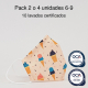 Mascarilla higiénica reutilizable Helado Infantil UNE 0065 y CWA 17553 Pack 2 o 4 ud